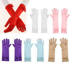 Women Girls Satin Bowknot Pearl Gloves Wedding Bridal Party Costume Fancy Dress