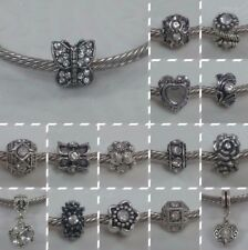 ~ Antique Silver Rhinestone Charms ~ FOR CHARM BRACELETS ~ 99p Each ~ Gift Bag ~