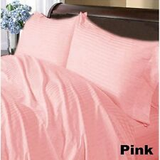 1200 TC 100%Egyptian Cotton Complete Bedding Items US Sizes Pink Striped