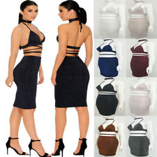 Evening Party Cocktail Club Short Mini Dress Women's Sleeveless Bandage Bodycon