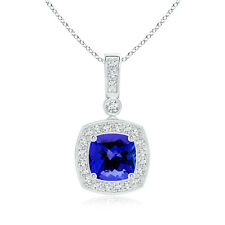 "Vintage Style 1.2 ct Cushion Cut Tanzanite Diamond Pendant Necklace 18"" Chain"
