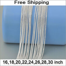 50pcs 1MM Bulk Wholesale Lots Silver Link Box Chain Necklace for Pendant 16-30""