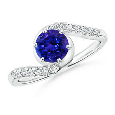 Heirloom AAAA Tanzanite Diamond Accents Engagement Ring 14k White Gold Size 3-13