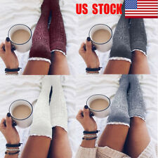 US Women Cable Knit Extra Long Boots Socks Over Knee Thigh High Warm Stockings