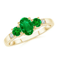 Three Stone Emerald Engagement Ring with Diamond Accents 14K Yellow Gold