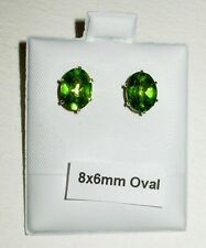 100% NATURAL PERIDOT STUD EARRINGS 4MM, 5MM,6MM ROUND, 6X4MM, 7X5MM & 8X6MM OVAL