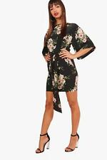 Boohoo Womens Wendy Tie Waist Kimono Sleeve Shift Dress