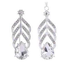 Shiny Clear Crystal Teardrop Pendant Brooch Pin Wedding Party Jewelry Accessory