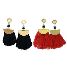 Tassel Fringe Earrings Stud Jewelry with Colorful Thread Fringed Long Dangle