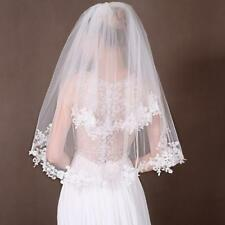 2 Layer White/Ivory Elbow Wedding Veils Lace Edge Bridal Veil With Comb 141