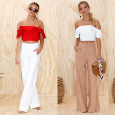 Summer Women Casual Off Shoulder Tank Top Blouse  Short Sleeve Crop Tops Shirt