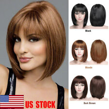 US Women Natural Beauty Bobo Short Straight Hair Ladies Cosplay Soft Full Wigs
