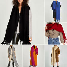 Women Girls Winter Solid Large Long Cotton Blend Casual Tassel Scarf Wraps Shawl