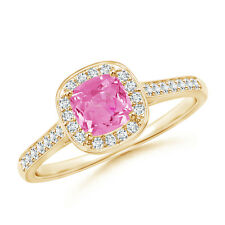 Vintage Style Diamond Halo Cushion-Cut Pink Sapphire Ring 14K Yellow Gold