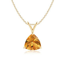 "Natural Trillion Citrine Solitaire Pendant Necklace 18"" Chain 14k White Gold"