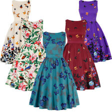 Retro Women Butterfly Print 1950s Housewife Pinup Vintage Rockabilly Party Dress
