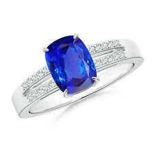 Cushion Cut Tanzanite Solitaire Ring with Diamond Accents White Gold Size 3-13