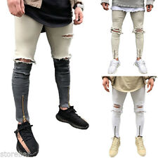 Plus Men's Taped Jeans Casual Skinny Ripped Holes Slim Fit Denim Pants Trousers