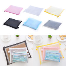 Clear Exam Pencil Case Transparent Simple Mesh Zipper Stationery Bag School BH