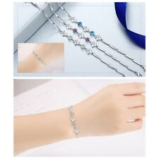 Women's Elegant Crystal Lucky Clover Sliver Plated Bangle Wrap Bracelet Jewelry