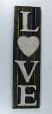 Country Primitive Rustic Black White Heart Love Sign Wainscoting Wood Home Decor