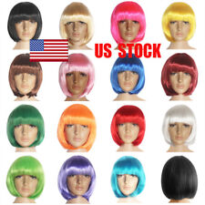 US 25cm Women Bob Style Straight Short Hair Synthetic Custume Cosplay Patry Wigs