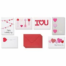 Valentine Cards 12-Pack Love with 6 Unique Heart Designs Includes Envelopes for