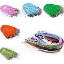 10pcs Organza Voile Ribbon Necklace Cord String Chain + Lobster Clasp 3mm 43cm