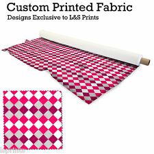 ARGYLE PINK DESIGN PRINTED FABRIC LYCRA JERSEY SPANDEX FROM PER METRE