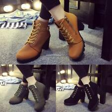 Fashion Women Lace Up Platform Block High Heel Ankle Boot Size 35-40 NC8902 01