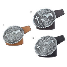 Western Cowgirl Leather Belt Rodeo Horse & Cross Rider Buckle Motorcyclist