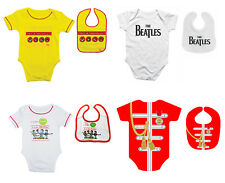 Beatles Baby Grow Official Babies Outfit Romper Suit or Bib 3-18 Mths 3 Designs