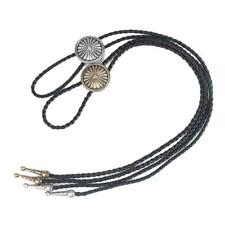 Western Leather Bolo Tie Pendant Necklace Daisy Necktie Dance Party Cowgirl