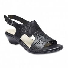 NEW Easy Steps Carrie Black Leather Sandals Women Shoes Wide Fit C-Fit