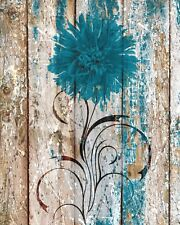 Rustic Brown Blue Floral Home Decor Wall Art Home Decor Matted Picture