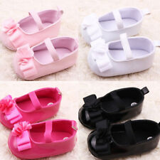 Baby Girl Ribbon Flowers Crib Shoes Infant PU Leather Soft Sole Toddler Shoes US