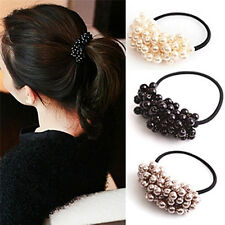 Pearl Acrylic Beads Elastic Hair Accessory Band Ring Rope Ties Ponytail HolderBH