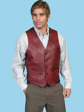 Scully Leather Mens Black Lamb Lambskin Button Front Vest Cherry