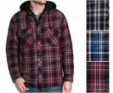 Mens BC Clothing HOODED FLANNEL Shirt Jacket Plaid Quilted Lining Blue Red Black