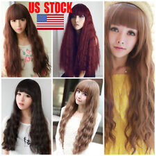 US Women Brown Black Red Blonde Long Cosplay Wig Hair Curly Straight Fancy Dress