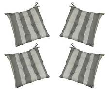 Set of 4 Outdoor Gray Grey White Stripe Tufted Patio Chair Cushions Choose Size