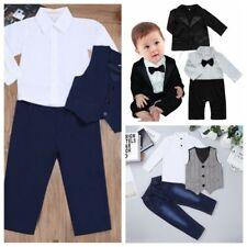 Baby Boys Gentleman Outfit Long Sleeves T-shirt Long Pants Vest Jeans Suit Set