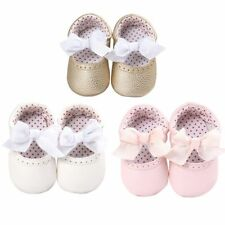 Baby Girls Bow Princess Shoes Infant Toddler Soft PU Casual Crib Shoes Prewalker