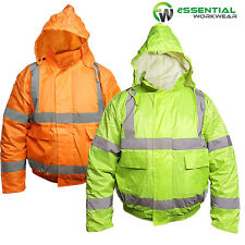 Yellow / Orange HIGH VISIBILITY Bomber Jacket Hi Vis Viz Waterproof Safety Coat