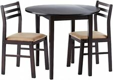 3 Piece Kitchen Breakfast Table And Chairs Dining Set Wood Furniture Cappuccino