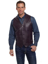 Cripple Creek Mens Chocolate Genuine Leather Western Button Front Vest