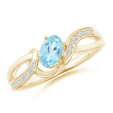 Solitaire Oval Natural Swiss Blue Topaz Diamond Ring 14k Yellow Gold