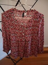 *SAMPLE CLEARANCE* H&M SILKY RED FLORAL BLOUSE SIZE S 36 6