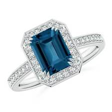 2.1ct Emerald Cut London Blue Topaz Diamond Halo Engagement Ring