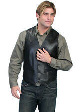 Scully Leather Mens Black Lamb Lambskin Button Front Vest
